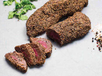 PRE-SEASONED POIVRE MELANGE WAGYU PETITE TENDER, Crusted with a trio of pink, green, and black peppercorns, Four steaks, 3.5lb