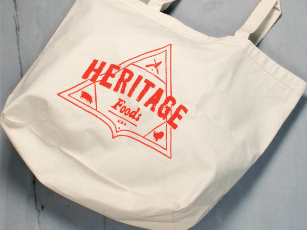 HERITAGE FOODS CANVAS TOTE BAGS — Choose from White size XL or Black size Medium