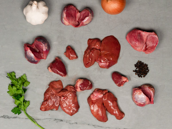 HERITAGE TURKEY GIZZARDS, LIVER & HEART, about 3.5lb total — From Good Shepherd Poultry Ranch