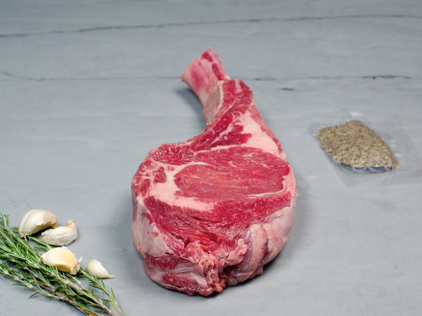 OVEN-READY BEEF TOMAHAWK STEAK with Rosemary and French Sea Salt, 3lb each — Piedmontese