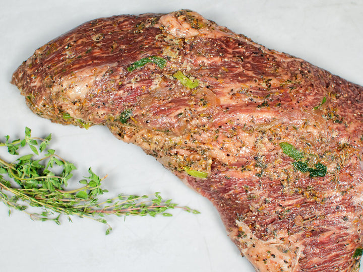OVEN-READY TRI-TIP BEEF ROAST, Infused with garlic, scallions, thyme  — Wagyu