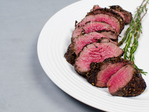 OVEN-READY POIVRE MELANGE WAGYU PETITE TENDER, Crusted with a trio of pink, green, and black peppercorns, Four 6-8 oz pieces, 1.75 lb