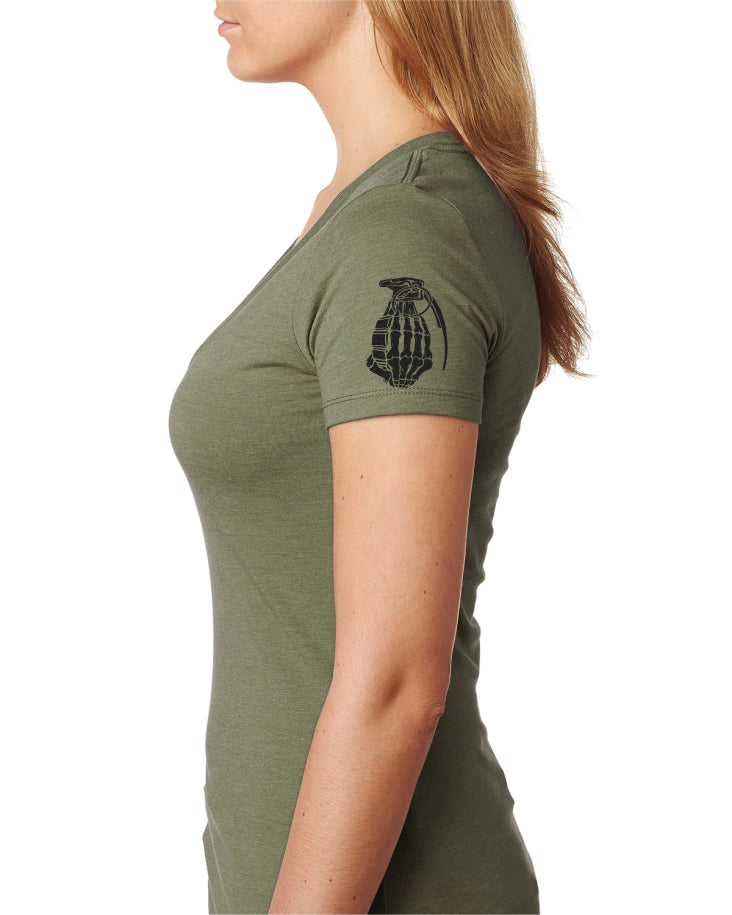 OD green V neck  With Black New G