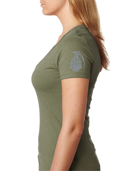 OD Green V neck With Grey logo