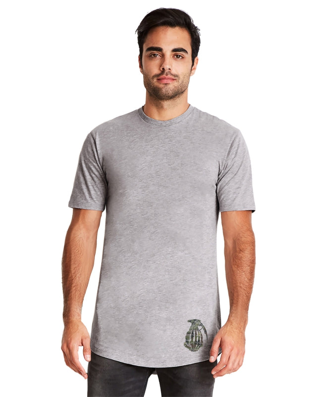 Heather Grey long Body With New Camo G logo
