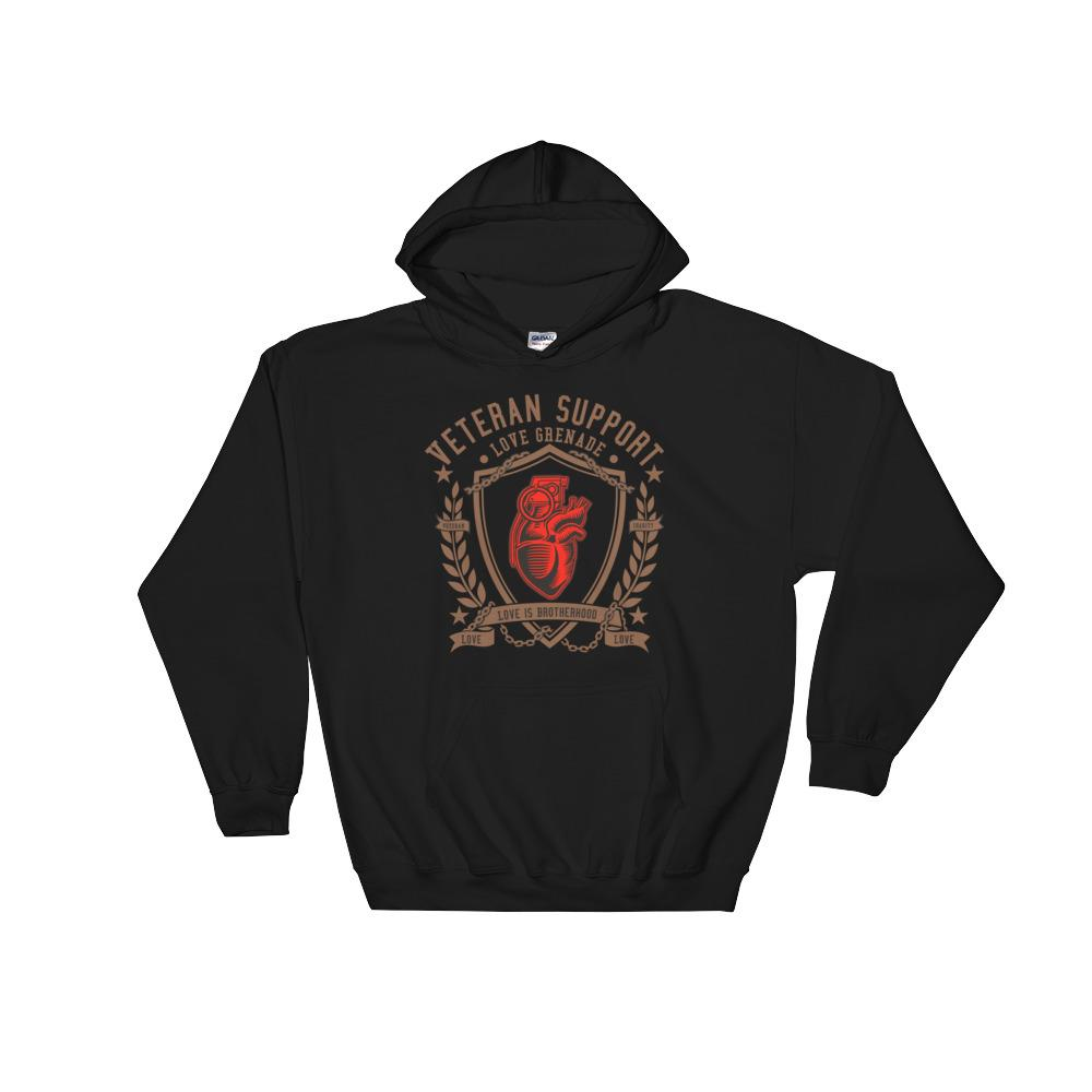 Black Veteran Support Hooded Sweatshirt Ranger Road Charity
