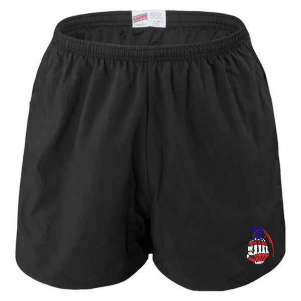 Black Performance Shorts with cream logo