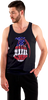 Black Tank With Red White Blue  logo