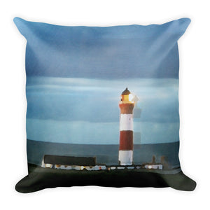 Buchan Ness Lighthouse Square Pillow