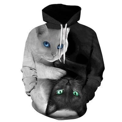 3D Black And White Cat Hoodie/Sweatshirt