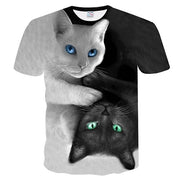 3D Black And White Cat T-Shirt