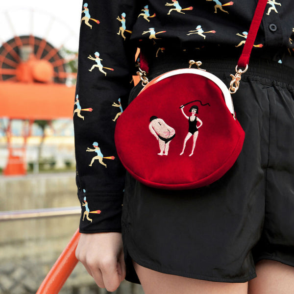 Casual Velvet Embroidery Funny Satchels