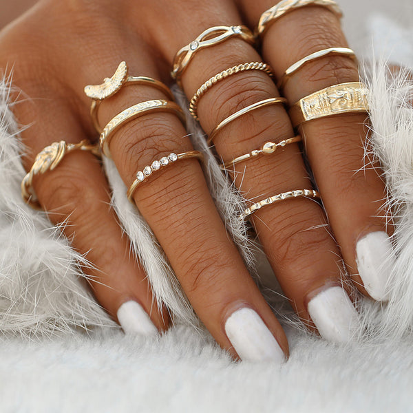 Boho Knuckle Party Ring Set