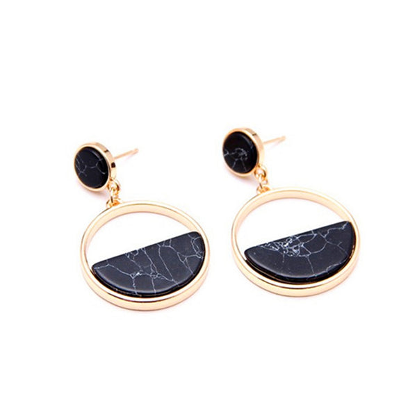 Circular Marble Drop Earrings