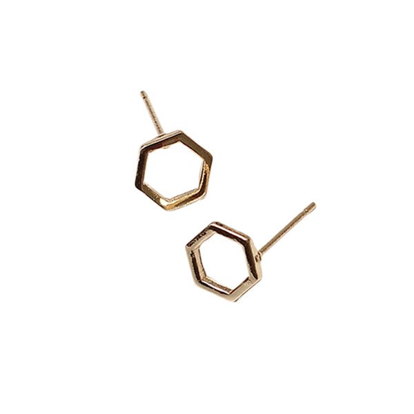 Geometric Hexagon Stud Earrings