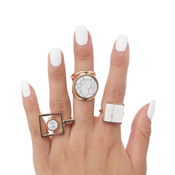 Geometric Marble Grain Ring Set