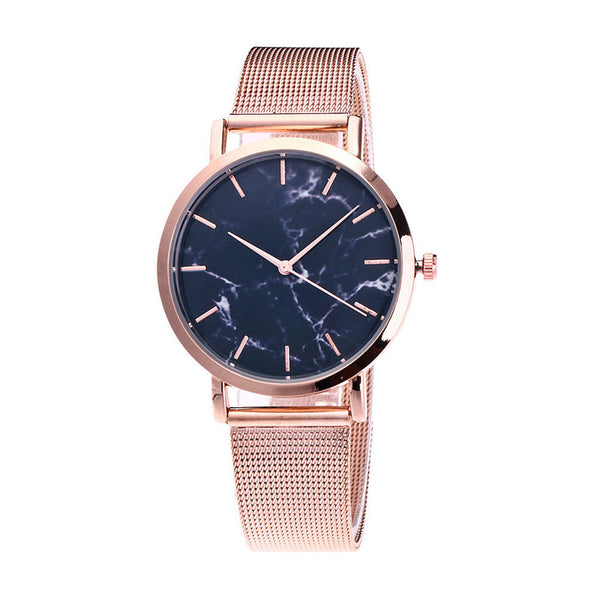 Marble Dial Mesh Strap Watch