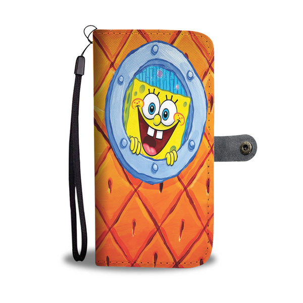 PINEAPPLE SKIN CARTOON PATTERN PHONE WALLET CASE