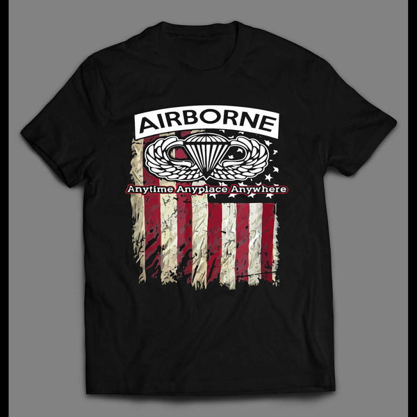 MILITARY AIRBORNE PARATROOPER AMERICAN FLAG 4TH OF JULY SHIRT