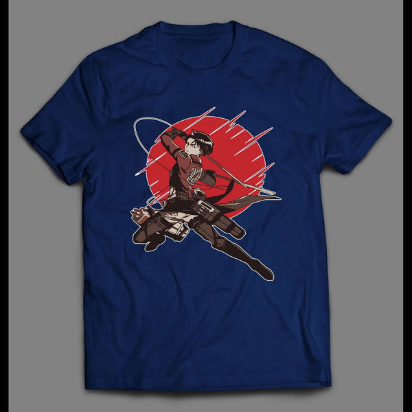 ATTACK ON TITAN CAPTAIN LEVI RED SUN ANIME HIGH QUALITY SHIRT