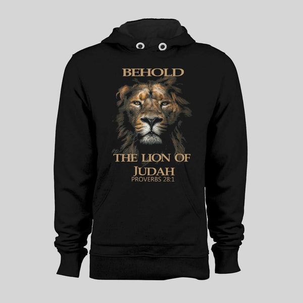 BEHOLD THE LION OF JUDAH CHRISTIAN PROVERBS VERSE WINTER HOODIE - Old Skool Shirts