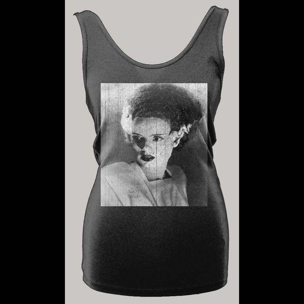 VINTAGE BRIDE FRANKENSTEIN HALLOWEEN DISTRESSED HIGH QUALITY LADIES TANK TOP