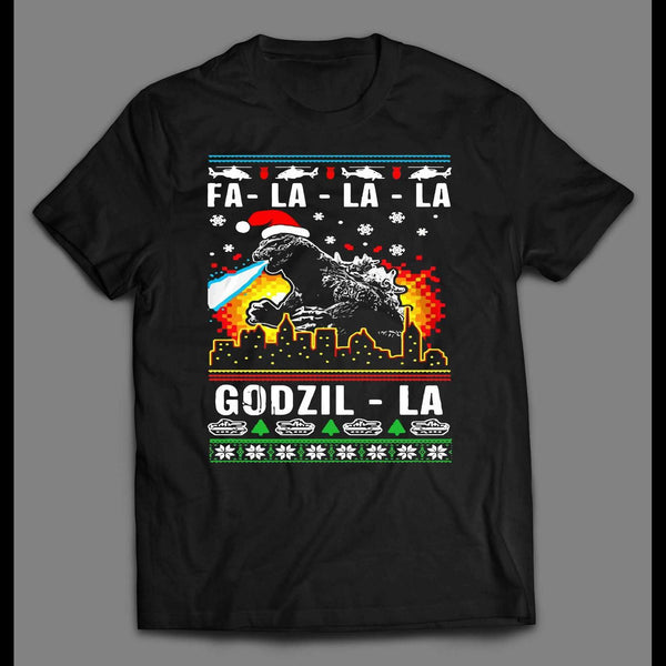 RETRO STYLE FA-LA-LA-LA GODZILLA MOVIE OLDSKOOL CHRISTMAS SHIRT - Old Skool Shirts