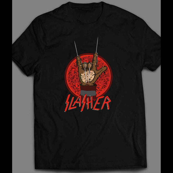 NIGHTMARE ON ELM ST FREDDY SLASHER ROCKER HAND ART PARODY HALLOWEEN SHIRT - Old Skool Shirts