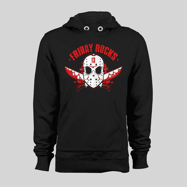 FRIDAY THE 13TH MASK FRIDAY ROCKS HALLOWEEN HOODIE /SWEATER