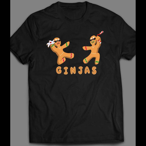 "GINGERBREAD MAN ""GINJAS"" CHRISTMAS FULL FRONT PRINT T-SHIRT"