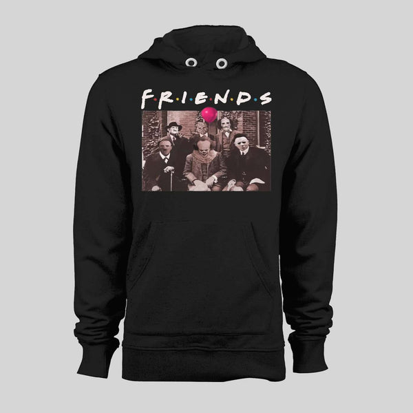 HORROR MOVIE KILLERS MYERS, PENNYWISE, FREDDY, JASON, AND LEATHERFACE FRIENDS PARODY RARE HALLOWEEN HOODIE / SWEATER - Old Skool Shirts