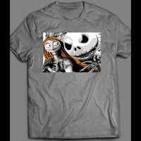 NIGHTMARE BEFORE CHRISTMAS JACK SKELLINGTON & SALLY RARE ART HALLOWEEN SHIRT - Old Skool Shirts