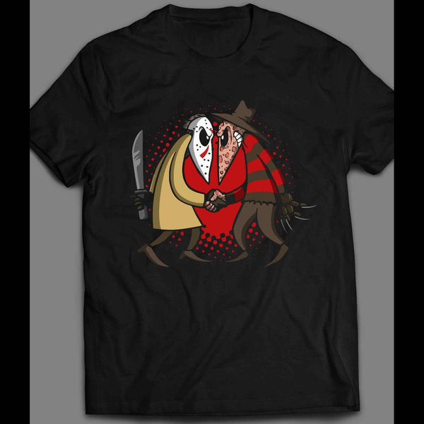 HORROR KILLERS JASON V FREDDY SPY VS SPY PARODY HALLOWEEN SHIRT - Old Skool Shirts