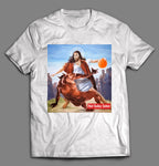 NOT TODAY SATAN JESUS CROSSOVER BASKETBALL PARODY SHIRT