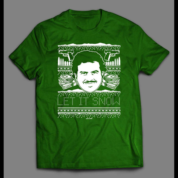 PABLO ESCOBAR LET IT SNOW CHRISTMAS FULL FRONT PRINT T-SHIRT
