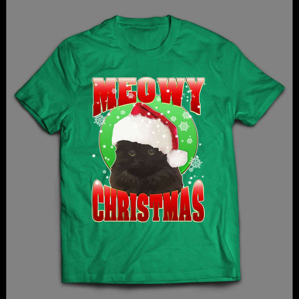MEOWY CHRISTMAS CAT LOVERS HIGH QUALITY HOLIDAY SHIRT