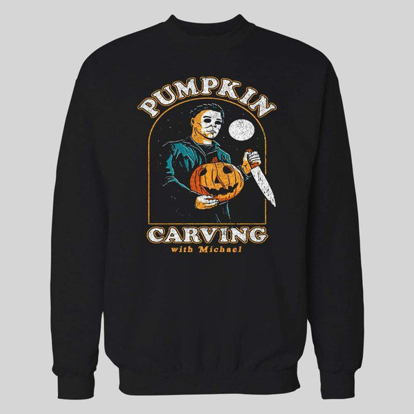 PUMPKIN CARVING WITH MICHAEL MYERS HALLOWEEN HOODIE / SWEATER