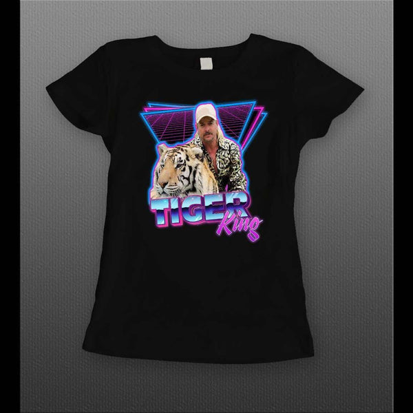 LADIES STYLE RETRO JOE EXOTIC THE TIGER KING 1980s STYLE ART SHIRT