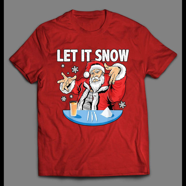 PARTY SANTA CLAUS LET IT SNOW CHRISTMAS SHIRT