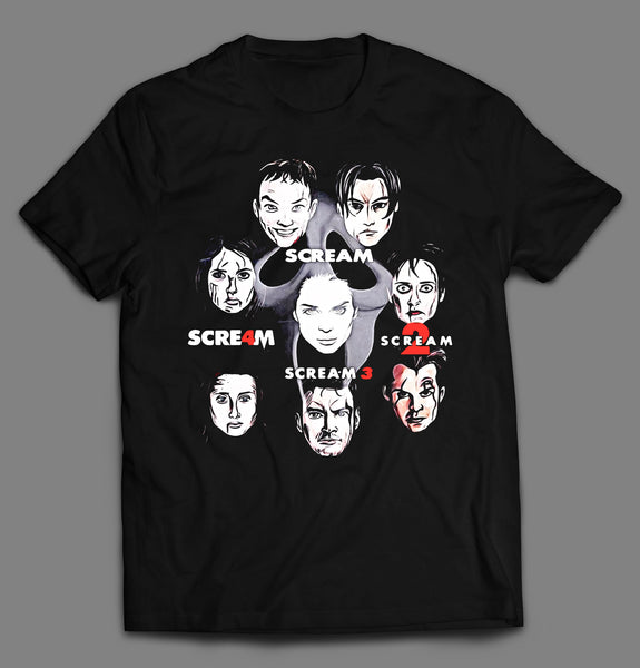 GHOST FACE MOVIE KILLER HORROR MOVIE SERIES MASHUP SHIRT