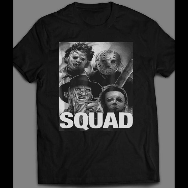 KILLER SQUAD HALLOWEEN HORROR MOVIE SERIAL KILLERS MYERS, LEATHERFACE, JASON, & FREDDY HALLOWEEN ARTT-SHIRT