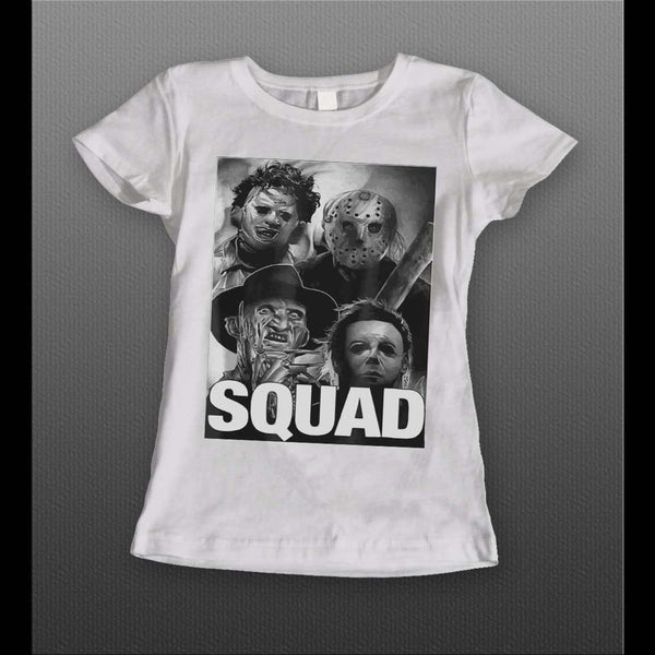 LADIES STYLE SQUAD HALLOWEEN HORROR MOVIE SERIAL KILLERS MYERS, LEATHERFACE, JASON, & FREDDY HALLOWEEN ARTT-SHIRT