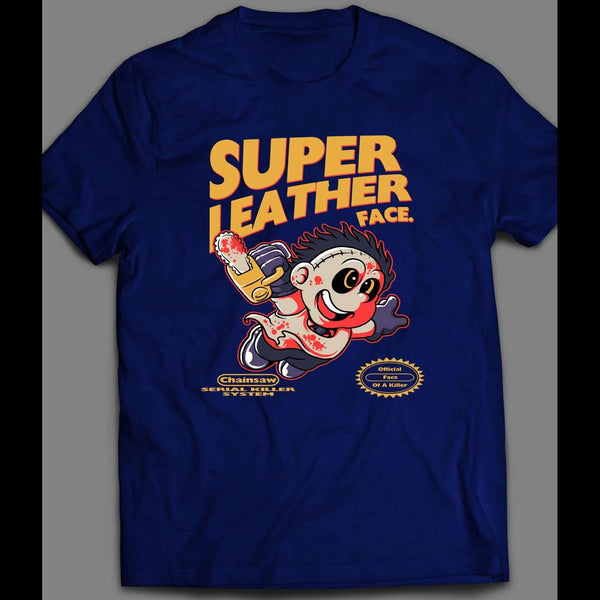SUPER LEATHER FACE X RETRO VIDEO GAME PARODY HALLOWEEN SHIRT - Old Skool Shirts