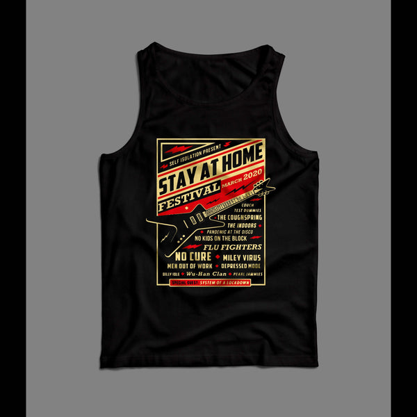 STAY AT HOME FESTIVAL 2020 POSTER SOCIAL DISTANCING MENS TANK TOP