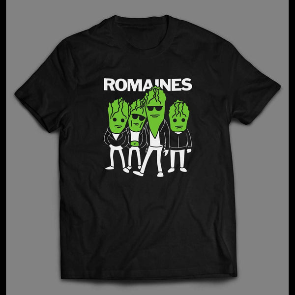 THE ROMAINES ROCK BAND PARODY FULL FRONT PRINT T-SHIRT - Old Skool Shirts