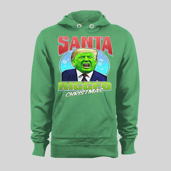 SANTA RIGGED CHRISTMAS GREEN FACE DONALD TRUMP CHRISTMAS HOODIE/ SWEATSHIRT