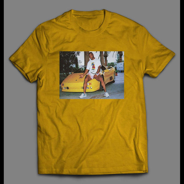 VINTAGE PHOTO MIKE TYSON SITTING ON LAMBORGHINI PRINT ON SHIRT