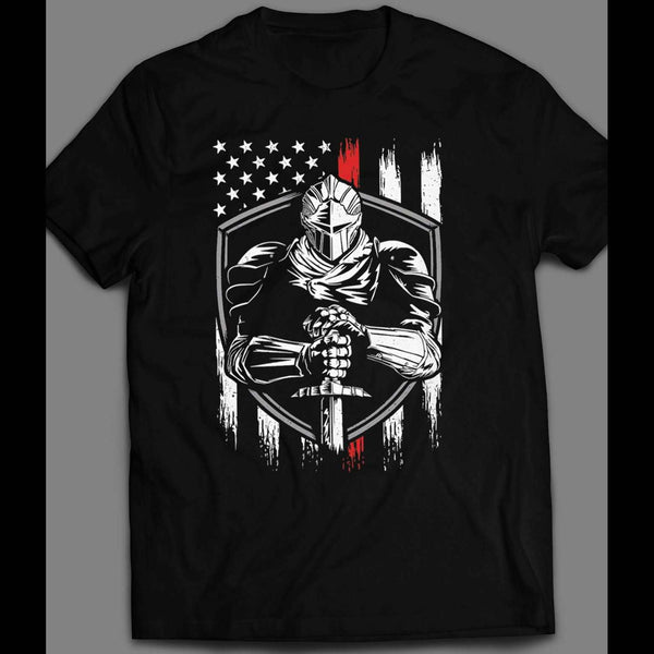 MILITARY STYLE U.S.A. KNIGHT AMERICAN FLAG 4TH OF JULY T-SHIRT