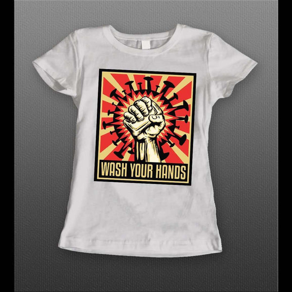 LADIES STYLE WASH YOUR HANDS POP ART POSTER SOCIAL DISTANCING SHIRT