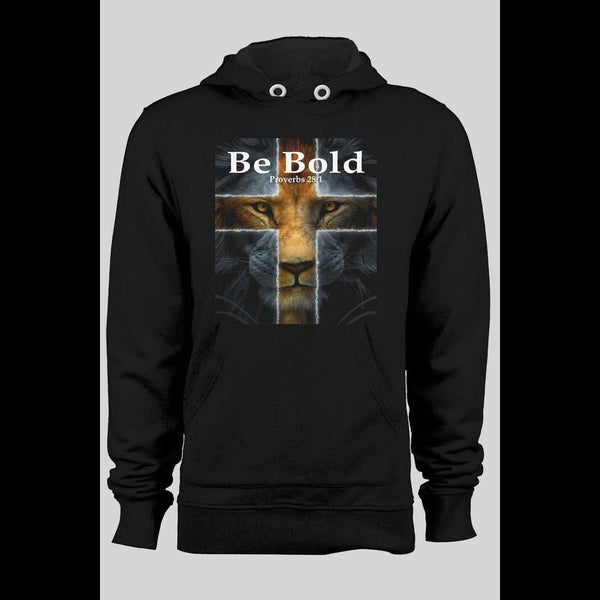 BE BOLD PROVERBS 28:1 CHRISTIAN WINTER HOODIE - Old Skool Shirts